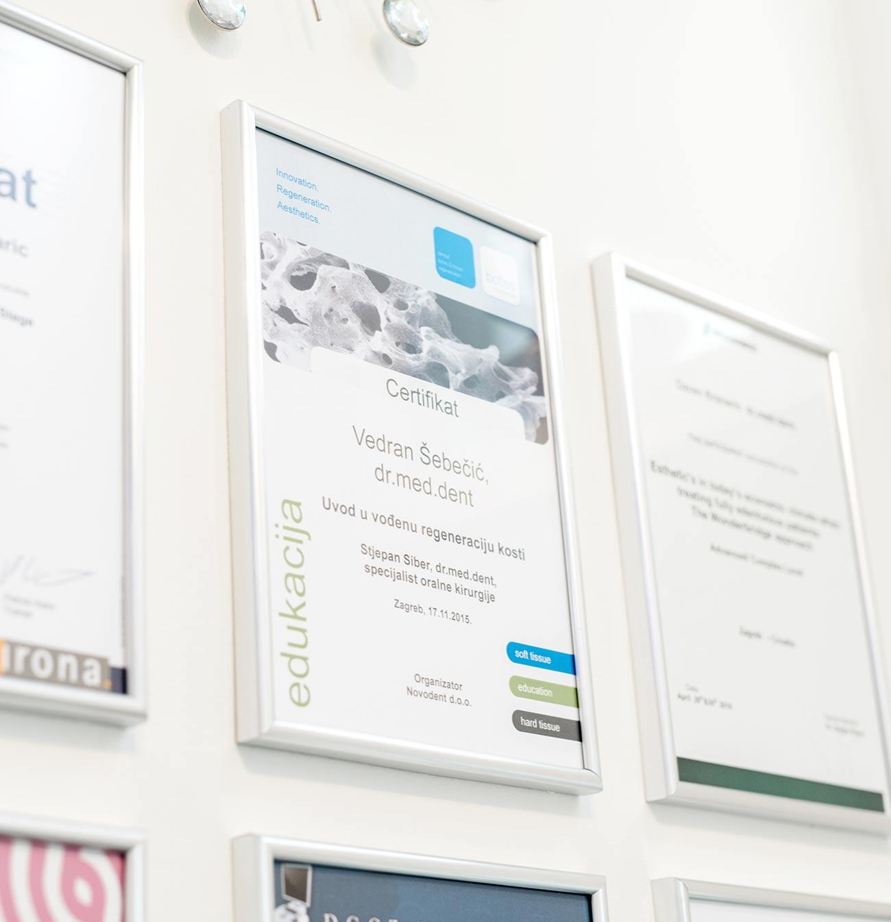 Dentus perfectus - zubna ordinacija - certifikati Vedran Šebečić